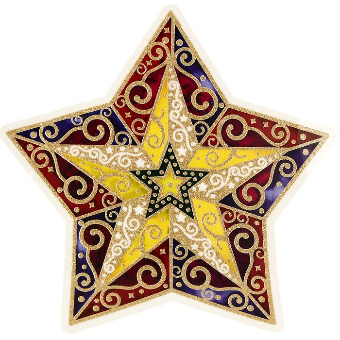 Новогоднее оконное украшение Звезда. 2020820208Новогоднее оконное украшение Звезда поможет украсить дом к предстоящим праздникам. Яркое красочное изображение звезды нанесено на прозрачную клейкую пленку. Украшение декорировано золотистыми блестками. С помощью этого украшения вы сможете оживить интерьер по своему вкусу: наклеить его на окно, на зеркало или на дверь. Новогодние украшения всегда несут в себе волшебство и красоту праздника. Создайте в своем доме атмосферу тепла, веселья и радости, украшая его всей семьей. Коллекция декоративных украшений из серии Magic Time принесет в ваш дом ни с чем не сравнимое ощущение волшебства! Характеристики: Материал: пленка ПВХ. Размер украшения: 29 см х 29,5 см. Изготовитель: Тайвань. Артикул: 20208.