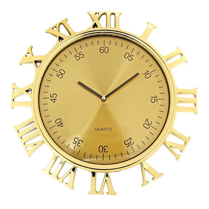 Часы настенные Римские цифры, цвет: золотистый92955Настенные кварцевые часы Римские цифры, оформленные под золото, своим изысканным дизайном подчеркнут оригинальность интерьера вашего дома. Корпус часов выполнен в круглой оправе, защищенной прозрачным пластиком, внутри которого распложены две стрелки - часовая и минутная и цифры, обозначающие минуты. Циферблат часов выполнен снаружи корпуса в виде римских цифр. Такие часы послужат отличным подарком для ценителя ярких и необычных вещей. Характеристики: Материал: пластик, металл. Цвет: золотистый. Общий диаметр часов (с учетом наружных цифр): 30 см. Диаметр циферблата с минутными цифрами: 23 см. Размер упаковки: 31 см х 33,5 см х 5 см. Изготовитель: Китай. Артикул: 92955. Необходимо докупить батарейку типа АА (не входит в комплект).