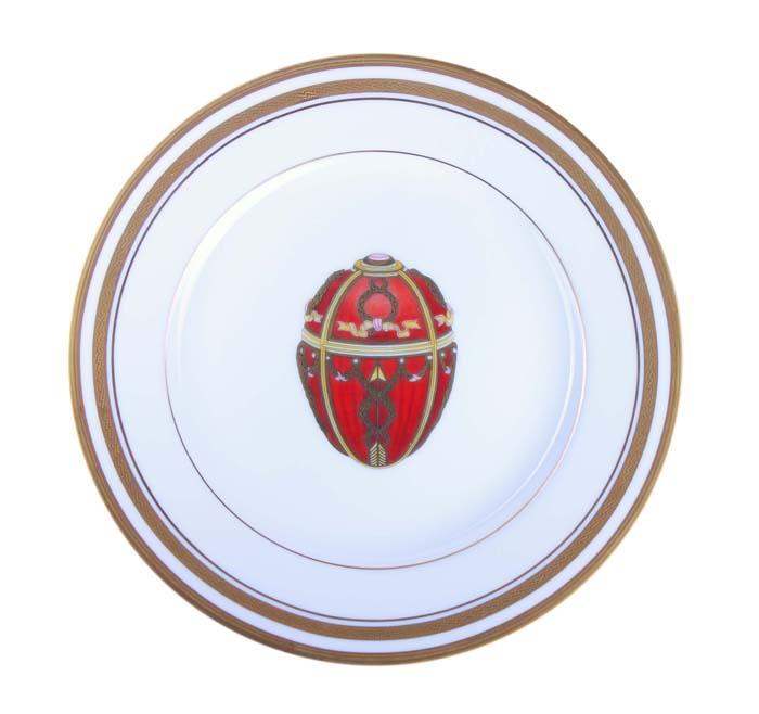 Тарелка Бутон розы. Фарфор, деколь, позолота, House of Faberge, 90-е гг. ХХ века