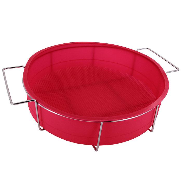 Форма для выпечки Круг, на подставке. 1604716047Форма Круг выполнена из силикона, благодаря этому выпечку вынимать легко и просто. Форма располагается на металлической подставке. Материал устойчив к фруктовым кислотам, может быть использован в духовках и микроволновых печах (выдерживает температуру от 240°C до - 50°C). Можно мыть и сушить в посудомоечной машине.