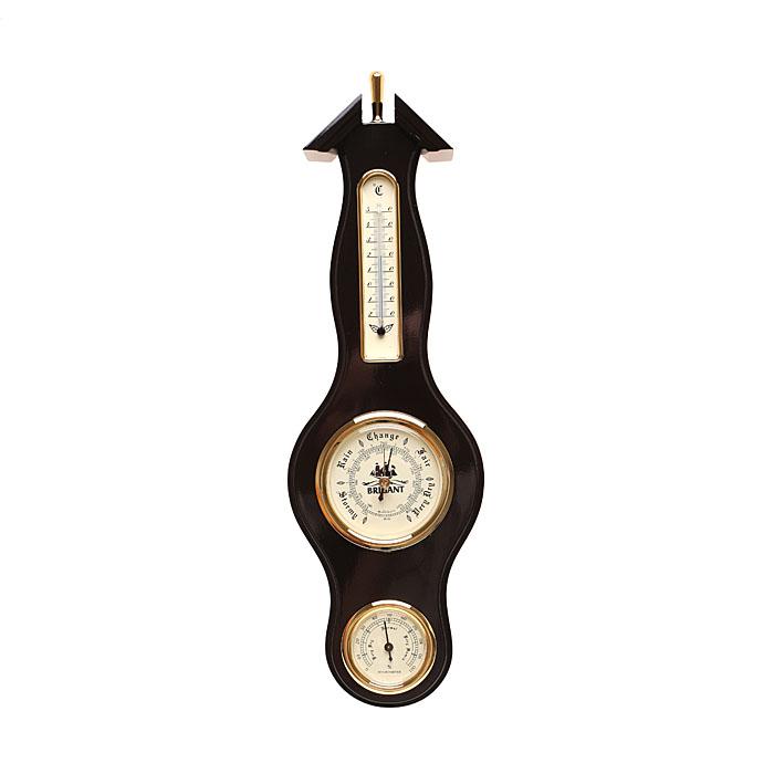 Метеостанция: барометр, термометр, гигрометр, цвет красное дерево28121Высота 38 см. На панели расположены три прибора, которые одновременно показывают давление (барометр), температуру (термометр) и влажность (гигрометр) воздуха. Модель выполнена в морском стиле. Хромировка под золото и благородный цвет панели сделают этот предмет настоящим украшением вашего интерьера.