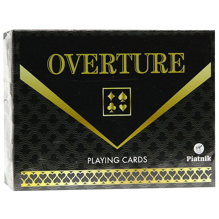 Карты игральные Piatnik Overtura, 55 карт2568Карты Overtura с рубашкой черного и золотого цветов, подходят для профессиональной игры в бридж, канасту и рамми, так как имеют очень гладкую поверхность, высококачественное покрытие и стандартный размер.