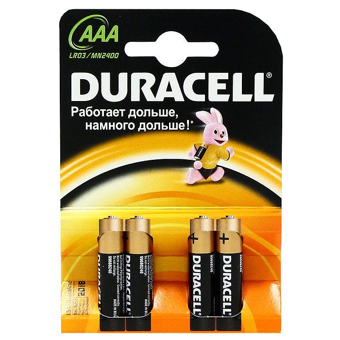 Набор батареек Duracell, тип AAA, 4 штDRC-81480363Набор батареек Duracell предназначен для использования в различных электронных устройствах небольшого размера, например в пультах дистанционного управления, портативных MP3-плеерах, фотоаппаратах, различных беспроводных устройствах. Характеристики: Тип элемента питания: AAA (LR03). Тип электролита: щелочной. Выходное напряжение: 1,5 В. Комплектация: 4 шт. Производитель: Бельгия.