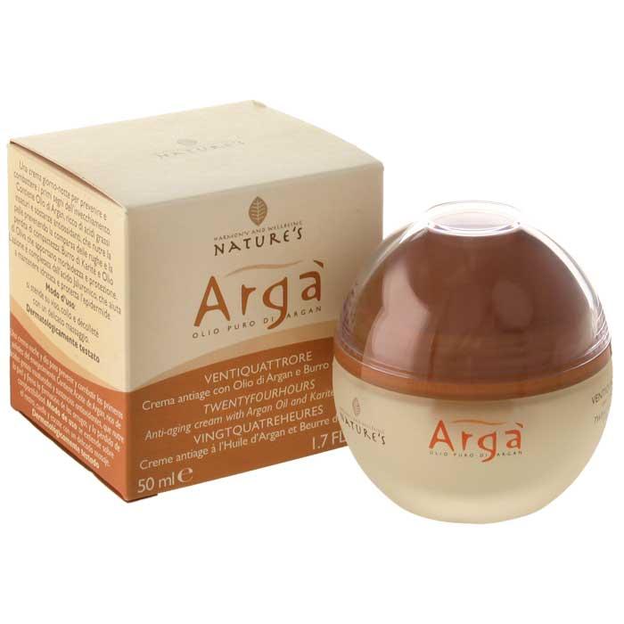Крем для лица Natures Arga, антивозрастной, 24 часа, 50 мл60150201Антивовозрастной крем для лица Natures Arga идеален для зрелой кожи. Содержит ненасыщенные жирные кислоты и антиоксиданты, которые питают кожу, борются с морщинами и потерей упругости. Обеспечивает мягкость и защиту, тонус и эластичность кожи, поддерживает необходимый уровень влажности 24 часа в сутки. Способ применения: наносить утром и вечером нежными массажными движениями на предварительно очищенную кожу лица, шеи и области декольте.