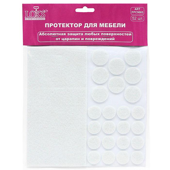 Протектор для мебели Loks Super Cleaning, самоклеящийся, цвет: белый, черный, 52шт
