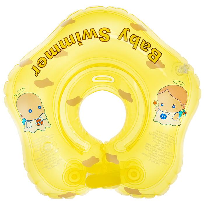 Круг на шею Baby Swimmer, цвет: желтый, 3-12 кг. BS21YBS21YКруг на шею Baby Swimmer с погремушкой внутри предназначен для купания малышей с рождения в домашних условиях или на открытом воздухе на глубине не более 1 метра. Одетый на шею ребенка круг не доставляет малышу никакого дискомфорта, ввиду применения технологии внутреннего шва, который делает края мягкими на ощупь. На внутренней стороне круга имеется вставка для подбородка ребенка, которая надежно фиксирует его положение и препятствует соскальзыванию. Двусторонняя липкая застежка сверху и снизу круга обеспечивает повышенную безопасность и позволяет регулировать внутренний размер круга, что делает возможность получить комфортное прилегание к шее ребенка. А благодаря двум раздельным контурам, надувающимся отдельно, создается дополнительная безопасность во время купания ребенка. Круг Baby Swimmer является отличным помощником для родителей и большой радостью для детей, так как дает им возможность полной свободы действия в воде! Круг на шею изготовлен из...