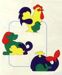 Фигурки животных, 3 шт., №2. Мягкая мозаика45370Мозаики и конструкторы настолько универсальны и практичны, что с ними можно играть практически везде. Для производства игрушек используется современный, легкий, эластичный, прочный материал, который обеспечивает большую долговечность игрушек, и главное –является абсолютно безопасным для детей. К тому же, благодаря особой структуре материала и свойству прилипать к мокрой поверхности, мягкие конструкторы и мозаики являются идеальной игрушкой для ванны. Способствует развитию у ребенка мелкой моторики, образного и логического мышления, наблюдательности.