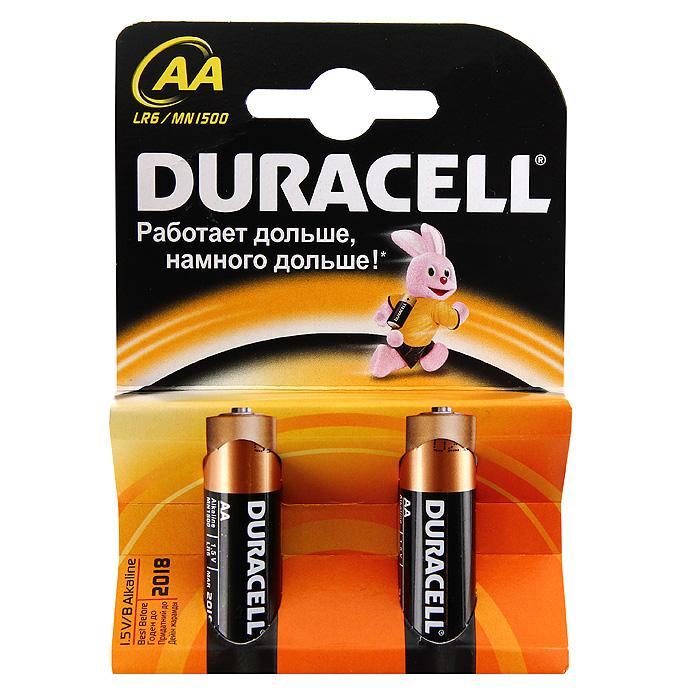 Набор алкалиновых батареек Duracell Basic, тип AA, 2 шт