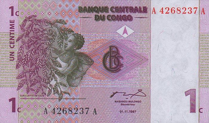 Банкнота номиналом 1 сантим. Демократическая Республика Конго. 1997 год211104Размер 11,8 х 7 см.