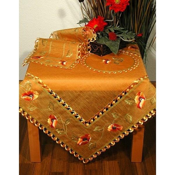 Скатерть Schaefer, органза с маками, цвет: терракотовый, 85 x 85 см. 06444-10006444-100Квадратная скатерть Schaefer выполнена из органзы терракотового цвета и украшена вышивкой по всему периметру в виде маков. Края скатерти также обработаны вышитыми завитками. Такая скатерть непременно добавит уюта в ваш дом или станет прекрасным подарком.