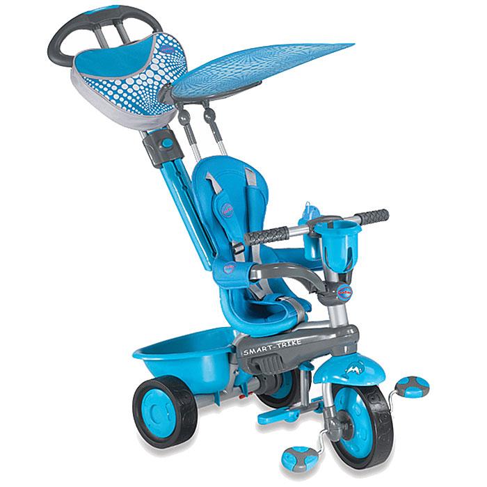 Трехколесный велосипед Smart-Trike Zoo, цвет: голубой. 15739001573900Трехколесный велосипед Smart-Trike Zoo голубого цвета выполнен из прочного пластика и металла. Велосипед оформлен в стиле расцветки дельфина. Благодаря складывающейся подставке для ножек, велосипед идеально подходит для детей в возрасте от десяти месяцев до трех лет. 3-точечный ремень безопасности, защитный поручень с мягкими вставками, сиденье с высокой спинкой для самых маленьких детишек сделают поездку безопасной и комфортной, а игрушечный музыкальный телефон развлечет ребенка во время прогулки. Также велосипед имеет небольшой багажник для игрушек. Основные характеристики: резиновые колеса 8,4 / 6,4; управляющая ручка с внутренней тягой; складная подножка; мягкая накидка на сиденье; 3-точечный ремень безопасности; страховочный обод; свободный ход педалей; съемный солнцезащитный тент с возможностью регулировки обеспечивает ребенку защиту от ультрафиолетового излучения солнца на 30%; ножная тормозная система; ...