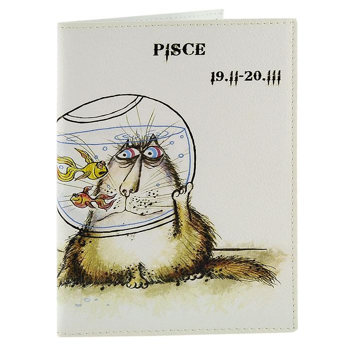 Обложка для паспорта Perfecto Pisces. PS-ZDCT-12PS-ZDCT-12Обложка для паспорта Рыбы, выполненная из натуральной кожи, оформлена оригинальным изображением забавного кота символизирующего знак зодиака - рыбы. Такая обложка не только поможет сохранить внешний вид ваших документов и защитит их от повреждений, но и станет стильным аксессуаром, идеально подходящим вашему образу. Обложка для паспорта стильного дизайна может быть достойным и оригинальным подарком. Характеристики: Материал: натуральная кожа, пластик. Размер (в сложенном виде): 9,5 см x 13,5 см. Производитель: Россия. Артикул: PS-ZDCT-12.