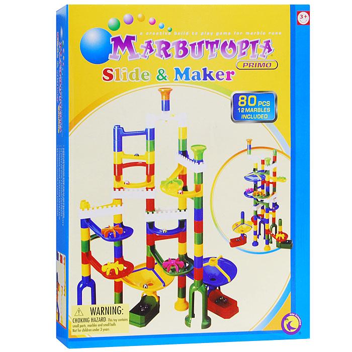 Marbutopia Конструктор Slide Maker6815Конструктор Slide Maker - первый шаг ребенка в мир конструирования объемных лабиринтов. В данном комплекте имеются разноцветные пластиковые детали: извилистые дорожки, горизонтальные мельницы, воронки, лотки для шариков, множество вертикальных трубок, балкончики и 12 шариков. Основная задача - построить лабиринт так, чтобы шарик не застревал, а скатывался вниз по дорожкам и виражам. Особенность конструктора заключается в том, что он позволяет ребенку строить бесконечные забавные лабиринты, руководствуясь своей фантазией или по прилагаемой инструкции. Конструирование лабиринтов полезно для развития пространственного мышления и воображения. Также развивает координацию, моторику, концентрацию, планирование, стратегию, понятие причины и следствия. Раннее развитие этих навыков, как известно, существенно увеличивает академические и интеллектуальные способности ребенка. Конструктор Slide Maker совместим с другими наборами серии Primo благодаря чему вы всегда...