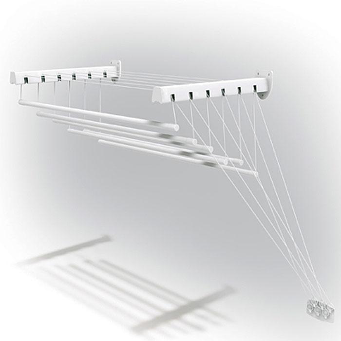 Сушилка для белья Gimi Lift 180, настенно-потолочная10460188Сушилка Gimi Lift 180 представляет собой пластиковые стержни, закрепленные при помощи направляющих шнуров на стальных кронштейнах, которые в свою очередь крепятся на стене или потолке. Специальный механизм обеспечивает подъем и опускание стержней, что значительно облегчает процесс развешивания белья. Стержни сушилки, на которые развешивается белье, устанавливаются до нужного для вас уровня, в зависимости от вашего роста. Сушилку можно установить в любом удобном для вас месте квартиры или балкона. Характеристики: Материал: сталь, пластмасса, текстиль. Длина стержня: 1,8 м. Максимальный вес (белья): 15 кг. Длина кронштейна: 43 см. Максимальное расстояние от кронштейна до опущенного стержня: 135 см. Размер упаковки: 182 см х 5,5 см х 10 см. Артикул: 10460188. УВАЖАЕМЫЕ КЛИЕНТЫ! Обращаем ваше внимание, что изображенные на последних двух фотографиях полотенца не входят в комплектацию товара, а служит лишь для демонстрации способа...