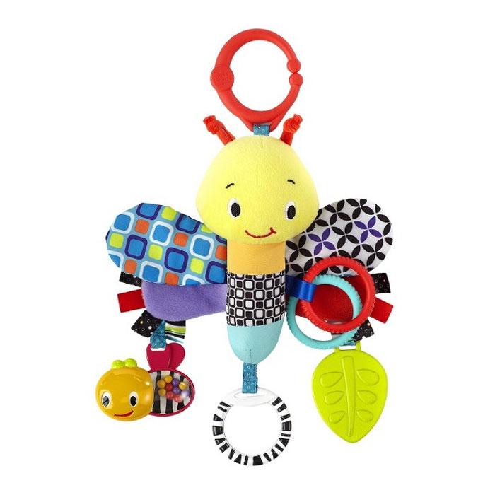 Bright Starts развивающая игрушка Стрекоза. 90759075Развивающая игрушка Стрекоза привлечет внимание малыша и станет его любимой игрушкой. Игрушка выполнена в виде забавной стрекозы из современных, легких материалов разных цветов и фактур, абсолютно безопасных для ребенка. К игрушке крепятся яркие развивающие элементы: четыре шуршащих крылышка, прорезыватель для зубов, два цветных рельефных колечка, безопасное зеркальце и маленькая пчелка с цветными шариками внутри, гремящими при тряске. С помощью пластикового колечка, развивающая игрушка легко крепится к коляске, кроватке или игровой дуге малыша.