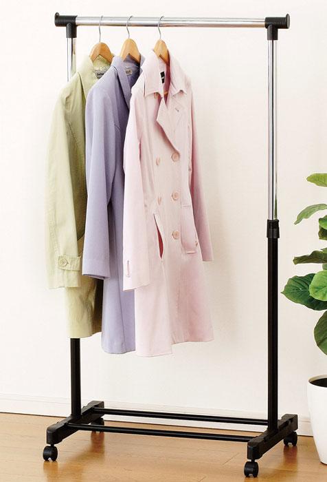 Вешалка для одежды Garment Rack, напольная486-SBВешалка для одежды Garment Rack позволит вам сэкономить полезное пространство в вашей прихожей или комнате. Она представляет собой конструкцию, выполненную их высококачественного металла и пластика. Высоту вешалки можно регулировать. Наличие небольших колесиков в основании вешалки позволяет легко перемещать ее вместе с одеждой. Такая вешалка для одежды отличается практичностью и удобством в использовании.