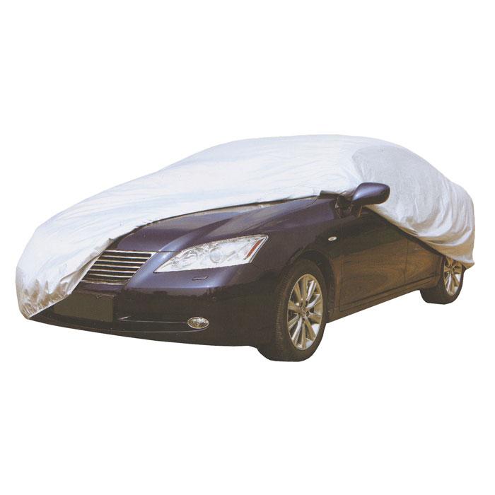 Чехол защитный Koto для автомобиля. Размер XXLSCC-130Легкий и мягкий защитный чехол Koto защитит автомобиль от солнца, дождя, пыли, снега и птиц. Высокопрочный и износостойкий, водонепроницаемый и светоотражающий. Чехол упаковывается в сумочку на застежке-молнии.