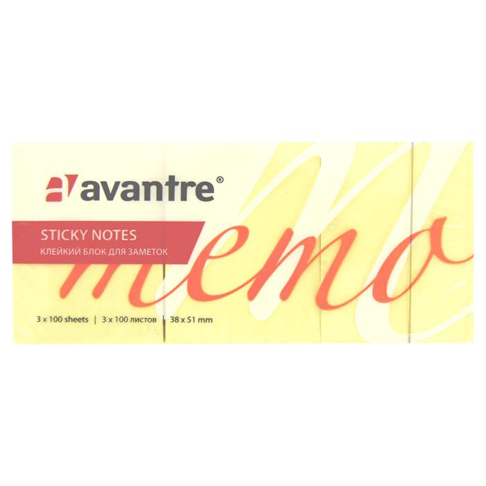 """Бумага для заметок """"Avantre"""", с клеевым слоем, цвет: желтый, 300 листов"""
