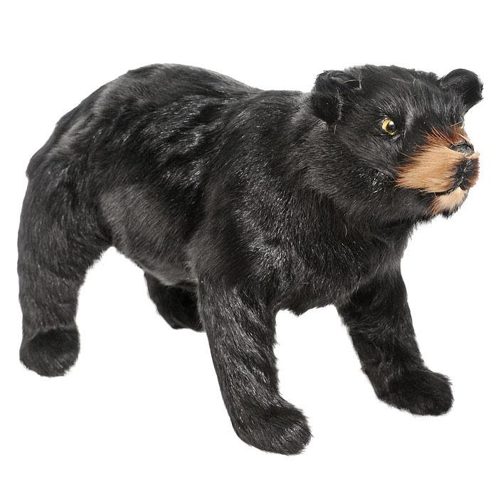 Медведь. B200-blB200-blМедведь черного окраса так похож на своего живого прототипа. Фигурка станет прекрасным сувениром или оформлением для интерьера. Пластиковая фигурка обтянута натуральным мехом. Мех обработан специальным раствором, который предотвращает появление в мехе моли и служит прекрасным антиаллергенным средством.