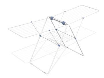 Сушилка напольная Gimi Flamingo, 210 х 64 х 100 см10220020Напольная сушилка для белья Gimi  Flamingo проста и удобна в использовании, компактно складывается, экономя место в Вашей квартире. Сушилку можно использовать на балконе или дома. Общая длина реек сушилки составляет 27 метров. Сушилка оснащена двумя раздвижными решетками для сушки одежды , а также имеет специальные пластиковые крепления в основе стоек, которые не царапают пол, и колесика для передвижения сушилки с бельем.