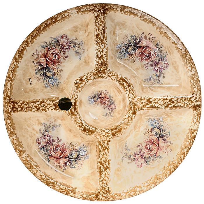 Менажница Элианто, диаметр 36 см, 5 секцийLCS092-EL-ALМенажница Элианто изготовлена из высококачественной керамики и декорирована классическим цветочным рисунком на бежевом фоне. Некоторые блюда можно подавать только в менажнице, чтобы не произошло смешение вкусовых оттенков гарниров. Также менажница может быть использована в качестве посуды для нескольких видов салатов или закусок.