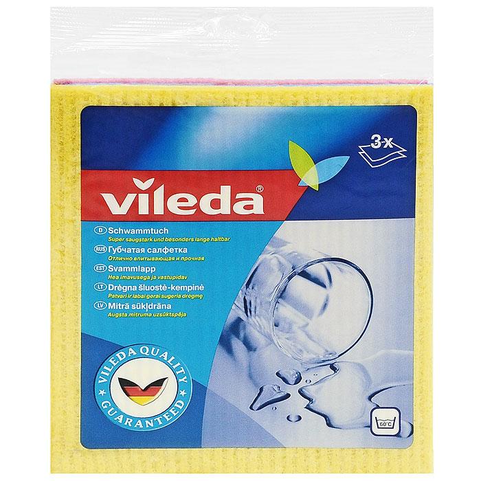 Набор салфеток Vileda, губчатых , 3 шт106980/124989Набор губчатых салфеток Vileda предназначен для уборки любых видов поверхности. Салфетки сделаны из натуральных материалов - целлюлозы и хлопка, которые гарантируют отличное впитывание. Впитывают в 10 раз больше своего веса. Можно стирать при температуре до 60°C (ручная стирка).