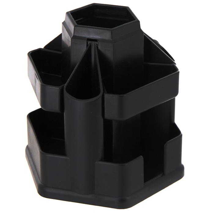 Подставка настольная Erich Krause Офисная, цвет: черный19793Настольная подставка Erich Krause Офисная для канцелярских принадлежностей - незаменимый атрибут рабочего стола. Подставка из высококачественного черного пластика имеет вращающуюся основу, благодаря которой вы с легкостью найдете нужный вам предмет. Подставка содержит 10 больших отделений для пишущих принадлежностей, линеек, ластиков, точилок, скрепок, блока для заметок, степлера. Настольная подставка для канцелярских принадлежностей Erich Krause Офисная поможет удобно организовать пространство на вашем рабочем столе. Характеристики: Размер подставки: 15 см x 15,5 см x 15,5 см. Цвет подставки: черный. Изготовитель: Россия.