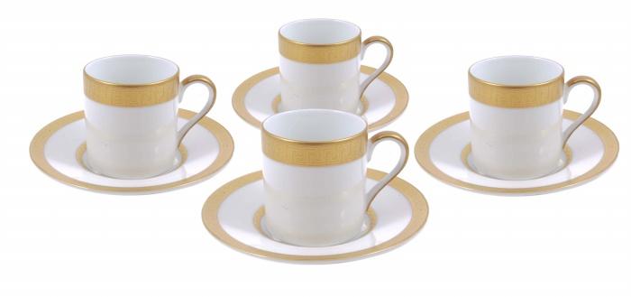 Сервиз Агафон из 4 кофейных пар. Фарфор, золочение. Япония, Фаберже, конец XX века