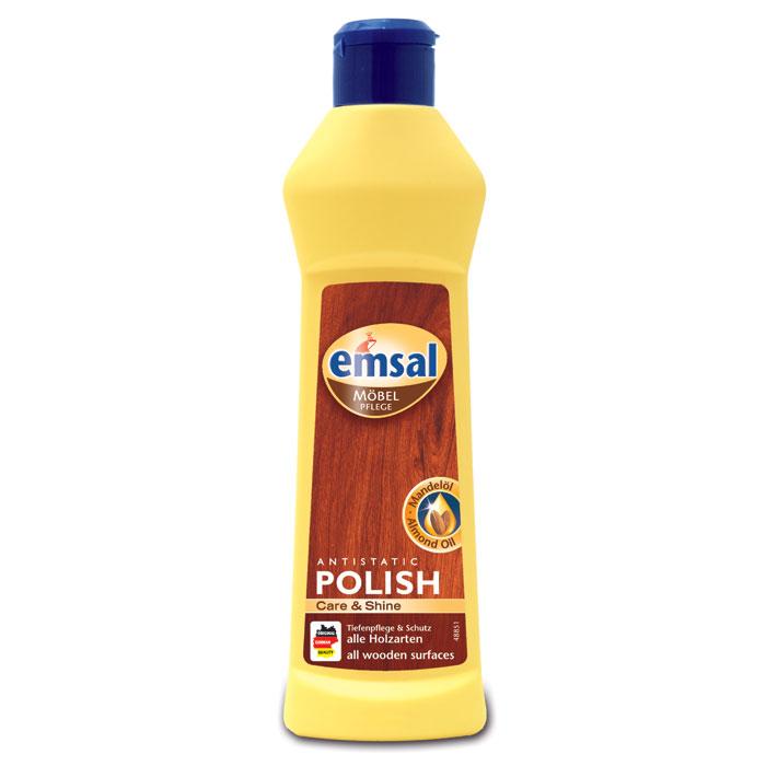 Очиститель-полироль для дерева Emsal, 250 мл707461Очиститель-полироль Emsal с насыщенным миндальным маслом подходит для интенсивной очистки и ухода за деревянными поверхностями. Ухаживает и питает, не оставляя жирных следов, защищает, покрывая легкие царапины. Не требует дополнительной полировки, создает антистатический эффект против пыли. Не содержит воска и силикона.