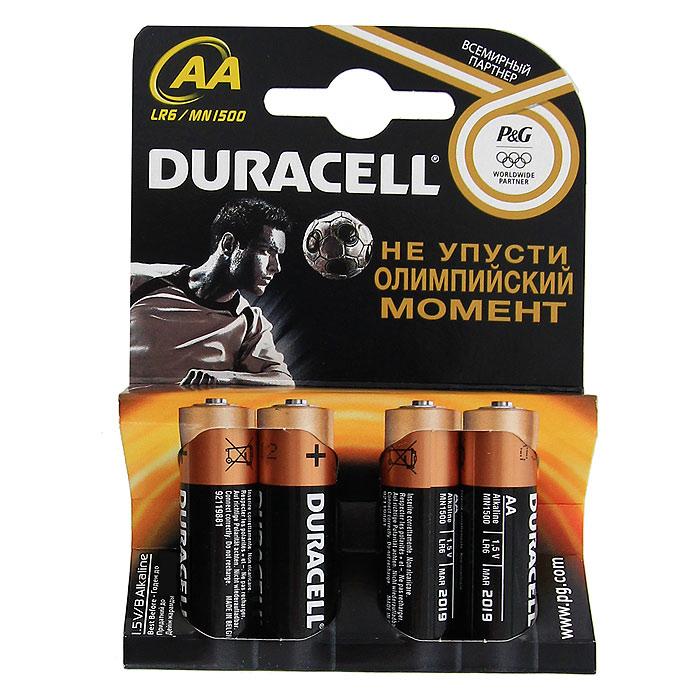 Набор алкалиновых батареек Duracell, тип AA, 4 шт706003Набор батареек Duracell предназначен для использования в различных электронных устройствах.