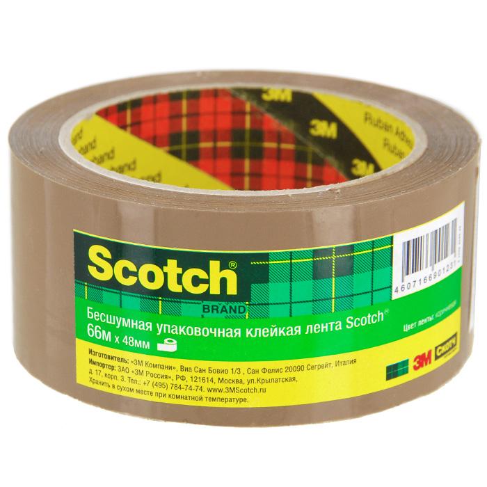 Клейкая лента Scotch, упаковочная, цвет: коричневыйS5066F6BУпаковочная лента Scotch - универсальный материал, надежно обеспечивающий целостность любых упаковок и сохранность предметов, помещенных в коробки, ящики и т.д. Благодаря особой технологии нанесения клеевого состава она разматывается практически бесшумно. Характеристики: Размер ленты: 5 см х 66 м. Изготовитель: Италия.