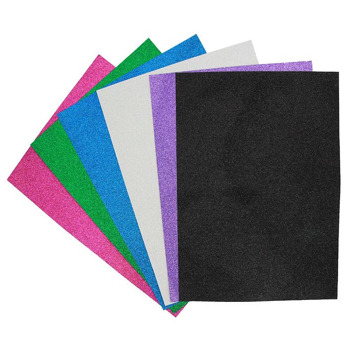 Цветная сверкающая бумага Fancy, 6 листов. FD010025FD010025Набор цветной сверкающей самоклеящейся бумаги Fancy прекрасно подходит для изготовления эксклюзивных подарков, открыток и многого другого. Детали, вырезанные из такой бумаги, эффектно смотрятся на открытках, аппликациях и других всевозможных поделках. В набор входит бумага зеленого, черного, белого, фиолетового, синего и розового цветов. Работа с набором развивает мелкую моторику, усидчивость и формирует художественный вкус. Характеристики: Формат: A4.
