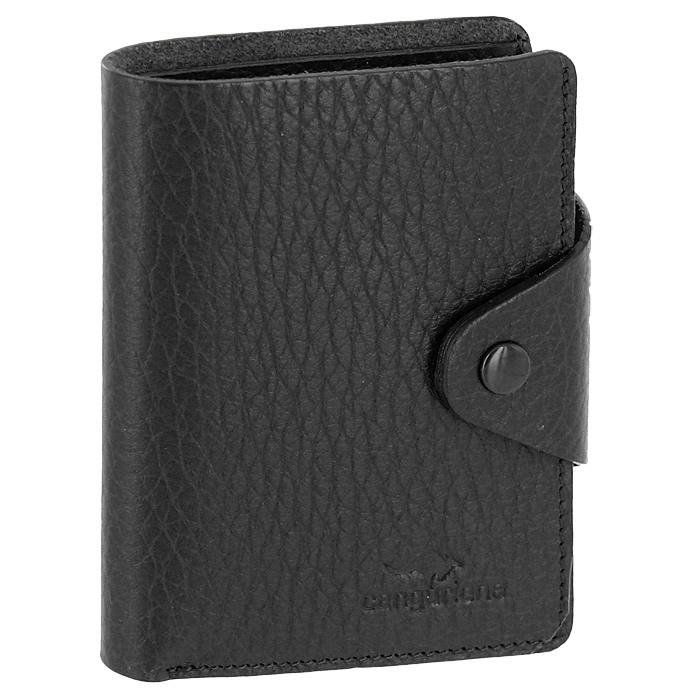 Визитница Cangurione, цвет: черный. 3303-001 F/Black3303-001 F/BlackКомпактная визитница Cangurione - стильная вещь для хранения визиток. Визитница выполнена из натуральной кожи черного цвета с естественной лицевой поверхностью. Внутри находится отделение для купюр, блок из прозрачного пластика, рассчитанный на 18 визиток и 4 прорезных кармашка из кожи. Визитница закрывается клапаном на кнопку. Такая визитница станет замечательным подарком человеку, ценящему качественные и практичные вещи. Визитница упакована в коробку из плотного картона с логотипом фирмы.