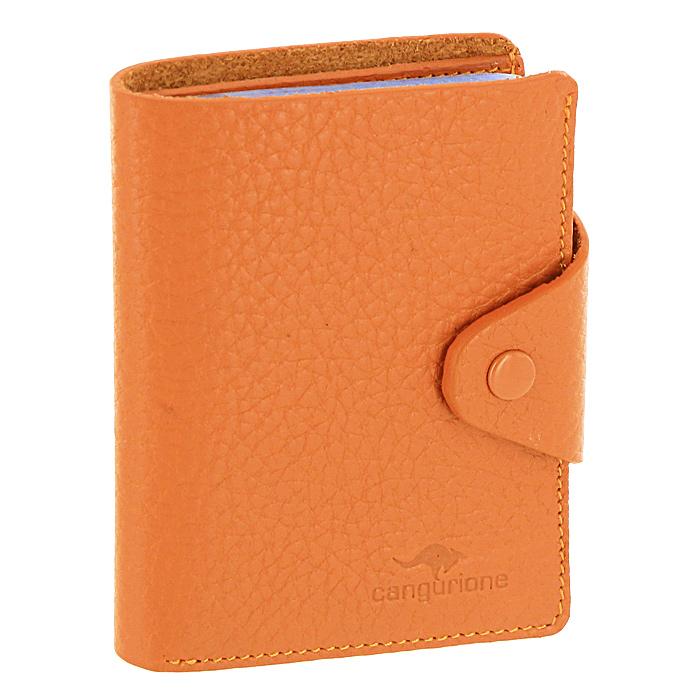 Визитница Cangurione, цвет: оранжевый. 3303-025 F/Orange3303-025 F/OrangКомпактная визитница Cangurione - стильная вещь для хранения визиток. Визитница выполнена из натуральной кожи оранжевого цвета с естественной лицевой поверхностью. Внутри находится отделение для купюр, блок из прозрачного пластика, рассчитанный на 18 визиток и 4 прорезных кармашка из кожи. Визитница закрывается клапаном на кнопку. Такая визитница станет замечательным подарком человеку, ценящему качественные и практичные вещи. Визитница упакована в коробку из плотного картона с логотипом фирмы. Характеристики: Материал: натуральная кожа, металл, ПВХ. Размер визитницы: 7,5 см x 10,5 см х 2 см. Цвет: оранжевый. Размер упаковки: 12 см x 10 см x 2,5 см. Производитель: Италия. Артикул: 3303-025 F/Orange.