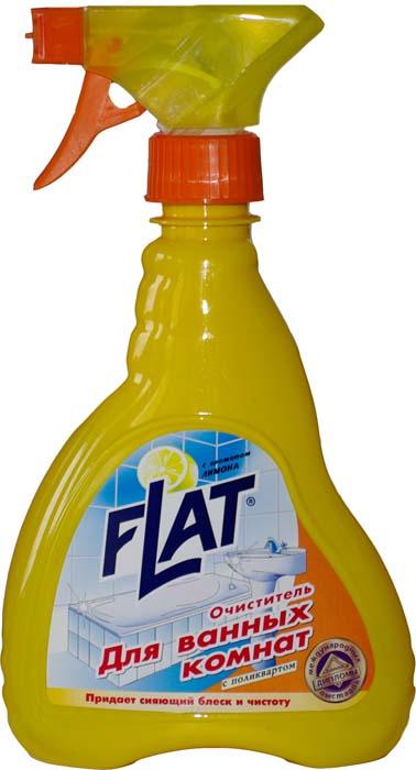 Очиститель для ванных комнат Flat, с ароматом лимона, 480 г4600296000263Высокоэффективное средство с маслом цитрусовых для чистки кафеля, плитки, никелированных поверхностей (краны, душ). Быстро удаляет известковый налет и прочие загрязнения. Содержит поликварт, образующий на поверхности невидимую пленку, позволяющую каплям воды легко скатываться, не оставляя потеков и белых пятен. Благодаря дозатору-распылителю средство быстро и равномерно распределяется по очищенной поверхности. Регулярное применение очистителя обеспечивает идеальный вид ванной комнаты.
