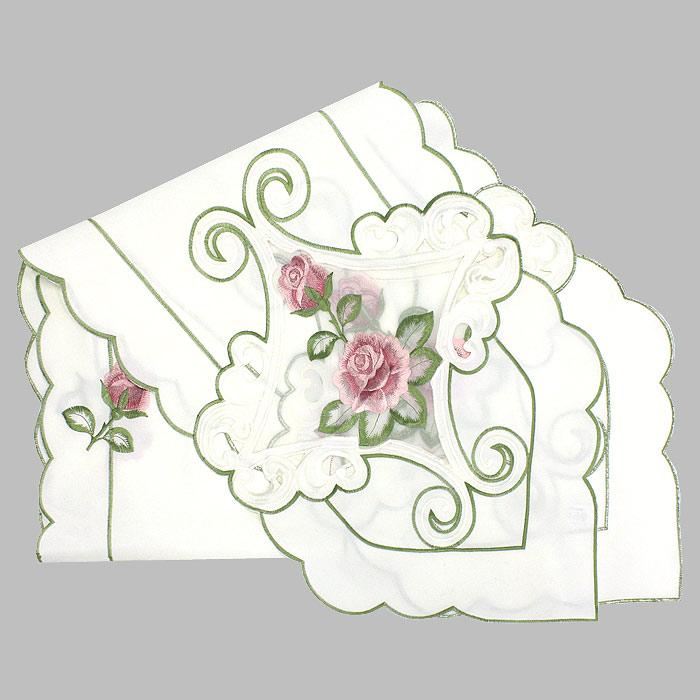Дорожка для декорирования стола Schaefe, с вышивкой, цвет: белый, 35 x 180 см06584-236Дорожка Schaefe, выполненная из полиэстера белого цвета, предназначена для декорирования стола. Она украшена вышивкой в виде красных роз и обработана по краю фестонами. Изысканное оформление изделия придает ему необыкновенную легкость. Дорожка Schaefe станет великолепным украшением вашего стола и создаст атмосферу уюта.