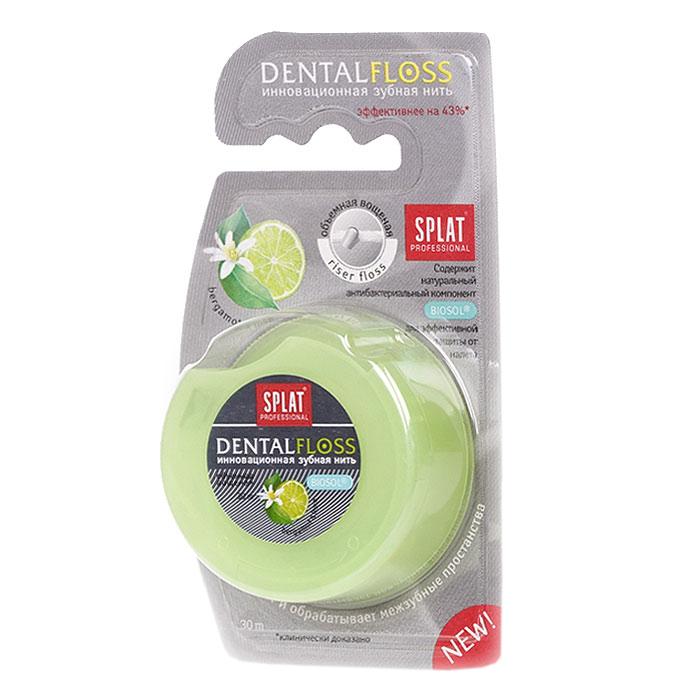 Зубная нить Splat Dental Floss с ароматом бергамота и лаймаФБ-601Объемная вощеная зубная нить Splat Dental Floss с уникальной структурой (Riser Floss) при натяжении легко проникает в межзубные промежутки, бережно и эффективно очищает поверхность зубов, заботясь о здоровье десен. Антибактериальный компонент Biosol препятствует размножению бактерий. Использование нити помогает предотвратить кариес и заболевания десен, уменьшает образование налета на 69%, снижает кровоточивость десен на 50%.