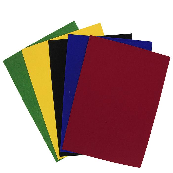 Цветная бархатная бумага Fancy, 5 цветов. FD010012FD010012Набор цветной бархатной бумаги Fancy состоит из листов синего, черного, желтого, красного и зеленого цветов. Он позволит вам создавать всевозможные аппликации и поделки. Создание поделок из цветной бумаги позволяет ребенку развивать творческие способности, кроме того, это увлекательный досуг. Воплотите свои творческие фантазии в красочных аппликациях с помощью этого набора!