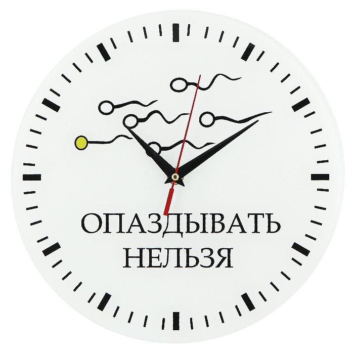 Часы настенные Опаздывать нельзя93277Настенные кварцевые часы Опаздывать нельзя своим необычным дизайном подчеркнут стильность и оригинальность интерьера вашего дома. Циферблат часов выполнен из стекла и оформлен ярким рисунком. Часы имеют три стрелки - часовую, минутную и секундную. На задней стенке часов расположена металлическая петелька для подвешивания. Такие часы послужат отличным подарком для ценителя ярких и необычных вещей.