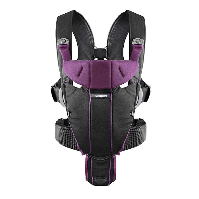 Рюкзак-кенгуру BabyBjorn Miracle soft сotton, цвет: черный, лиловый