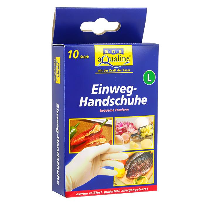 Набор одноразовых перчаток Aqualine, размер: L, 10 шт9079Одноразовые перчатки Aqualine предназначены для любых работ по дому, а также в саду, парикмахерской и больнице. Они сохраняют высокую чувствительность рук, хорошо растягиваются и в то же время высокопрочные на разрыв. Небольшое количество протеина обеспечивает защиту чувствительной кожи от аллергии. Каждая перчатка подходит на обе руки.