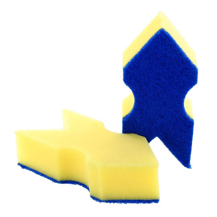 Набор губок Aqualine Стрела для мытья посуды, 2 шт1052Набор Aqualine Стрела состоит из двух губок, которые предназначены для мытья посуды из деликатных материалов: акрила, тефлона, стекла, фарфора, хрусталя и полированной стали. Губки отлично удаляют жир, грязь и пригоревшую пищу, не царапая посуду. Для удобства применения на губках с одной стороны нанесен текстильный абразивный слой, который полностью удаляет сильные загрязнения.