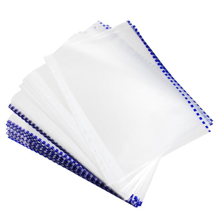 Файл-вкладыш Erich Krause, с перфорацией, цвет: прозрачный, синий, формат А4, 100 шт30631Файл-вкладыш Erich Krause отлично подойдет для подшивки документов в архивные папки без перфорирования дыроколом. Боковая цветная полоса позволяет сортировать документы по темам. Стандартная перфорация совместима с любыми видами архивных папок. Комплект включает 100 перфофайлов с боковой полосой синего цвета. Характеристики: Размер перфофайла (без учета перфорации): 21,5 см x 30,5 см. Изготовитель: Россия.