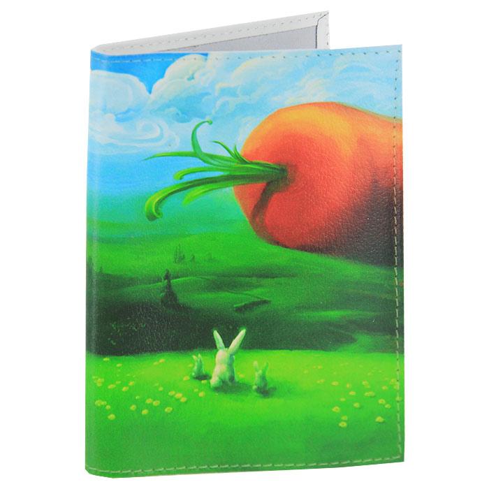 Обложка для паспорта Заяц и морковка. OK059OK059Обложка для паспорта, выполненная из натуральной кожи, оформлена изображением гигантской морковки и зайцев. Такая обложка не только поможет сохранить внешний вид ваших документов и защитит их от повреждений, но и станет стильным аксессуаром, идеально подходящим вашему образу. Яркая и оригинальная обложка подчеркнет вашу индивидуальность и изысканный вкус. Обложка для паспорта стильного дизайна может быть достойным и оригинальным подарком.