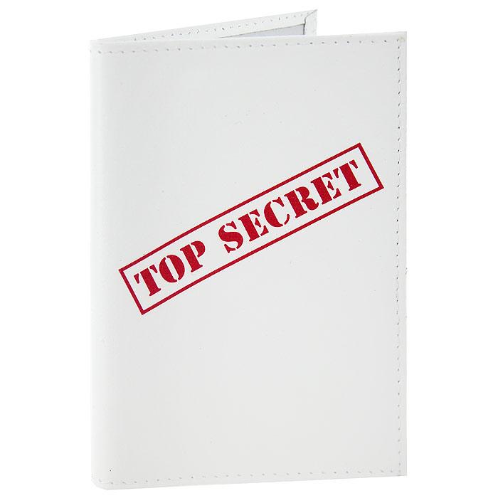 Обложка для паспорта Top Secret. OK100OK100Обложка для паспорта, выполненная из натуральной кожи белого цвета, оформлена надписью Top Secret. Такая обложка не только поможет сохранить внешний вид ваших документов и защитит их от повреждений, но и станет стильным аксессуаром, идеально подходящим вашему образу. Яркая и оригинальная обложка подчеркнет вашу индивидуальность и изысканный вкус. Обложка для паспорта стильного дизайна может быть достойным и оригинальным подарком.