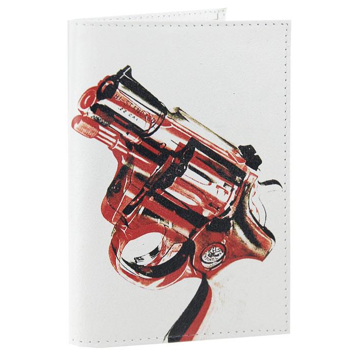 Обложка для паспорта Пистолет. OK042OK042Обложка для паспорта, выполненная из натуральной кожи белого цвета, оформлена изображением пистолета. Такая обложка не только поможет сохранить внешний вид ваших документов и защитит их от повреждений, но и станет стильным аксессуаром, идеально подходящим вашему образу. Яркая и оригинальная обложка подчеркнет вашу индивидуальность и изысканный вкус. Обложка для паспорта стильного дизайна может быть достойным и оригинальным подарком.