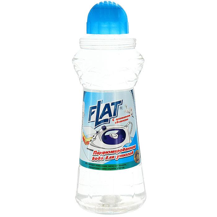 Вода парфюмированная Flat для утюгов, с ароматом свежести, 800 г4600296001024Парфюмированная вода Flat предназначена для утюгов с отпаривателем. Она не содержит солей жесткости, образующих накипь и известковый налет на парообразовательном элементе утюга. Предохраняет белье от появления пятен известковой накипи и ржавчины при отпаривании. Придает ему свежесть и гладкость. Регулярное использование парфюмированной воды Flat продлевает срок службы вашего утюга.