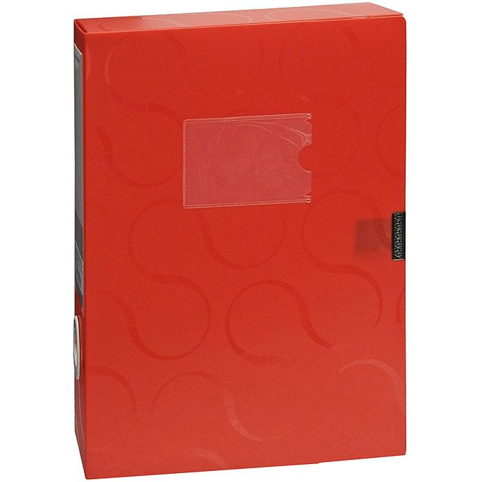 Короб для документов Omega, на липучке, цвет: красный0410-0044-05Короб для документов Omega красного цвета применяется для хранения и транспортировки документов. Короб выполнен из плотного пластика и закрывается на липучку. Короб оснащен карманом для визитки, корешком со сменным вкладышем и кольцом для удобного извлечения с полочки. Короб обеспечит вам надежную защиту документов в течении длительного времени.