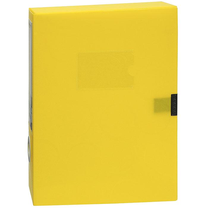 Короб для документов Omega, на липучке, цвет: желтый0410-0044-06Короб для документов Omega желтого цвета применяется для хранения и транспортировки документов. Короб выполнен из плотного пластика и закрывается на липучку. Короб оснащен карманом для визитки, корешком со сменным вкладышем и кольцом для удобного извлечения с полочки. Короб обеспечит вам надежную защиту документов в течении длительного времени. Характеристики: Размер: 24 см х 6 см х 32 см. Цвет: желтый. Формат: А4.