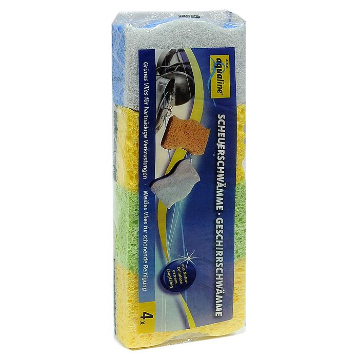 Набор губок Aqualine для мытья посуды, 4 шт1053Набор Aqualine состоит из четырех губок, предназначенных для мытья посуды. Они изготовлены из натуральной целлюлозы с высоким впитывающим эффектом. Они имеют два слоя для мытья посуды из различных материалов. Мягкая сторона подойдет для мытья деликатных поверхностей, а жесткая для удаления пригоревшей пищи. Характеристики: Материал губки: натуральная целлюлоза . Материал чистящей части губки: 30% полиамид, 10% полиэстер, 60% связующие вещества. Размер губки: 10 см х 2,5 см х 8 см. Комплектация: 4 шт. Производитель: Германия. Артикул: 1006.
